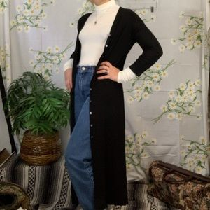 Vintage Ann Klein black duster with MOP buttons